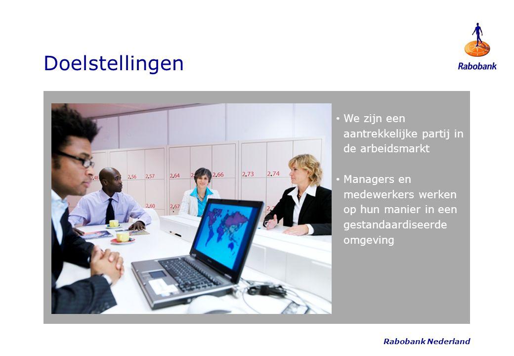 Rabobank Nederland Doelstellingen We zijn een aantrekkelijke partij in de arbeidsmarkt Managers en medewerkers werken op hun manier in een gestandaard