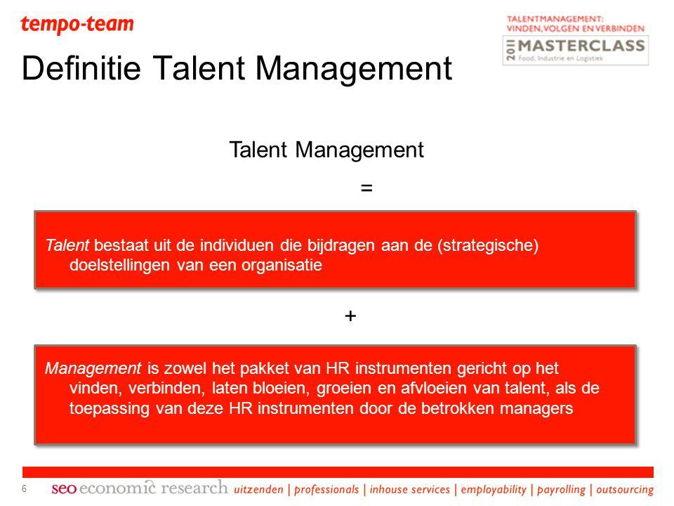 6 Definitie Talent Management Talent Management = Talent bestaat uit de individuen die bijdragen aan de (strategische) doelstellingen van een organisa