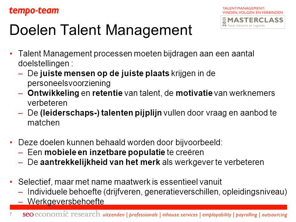 7 Talent Management processen moeten bijdragen aan een aantal doelstellingen : –De juiste mensen op de juiste plaats krijgen in de personeelsvoorzieni