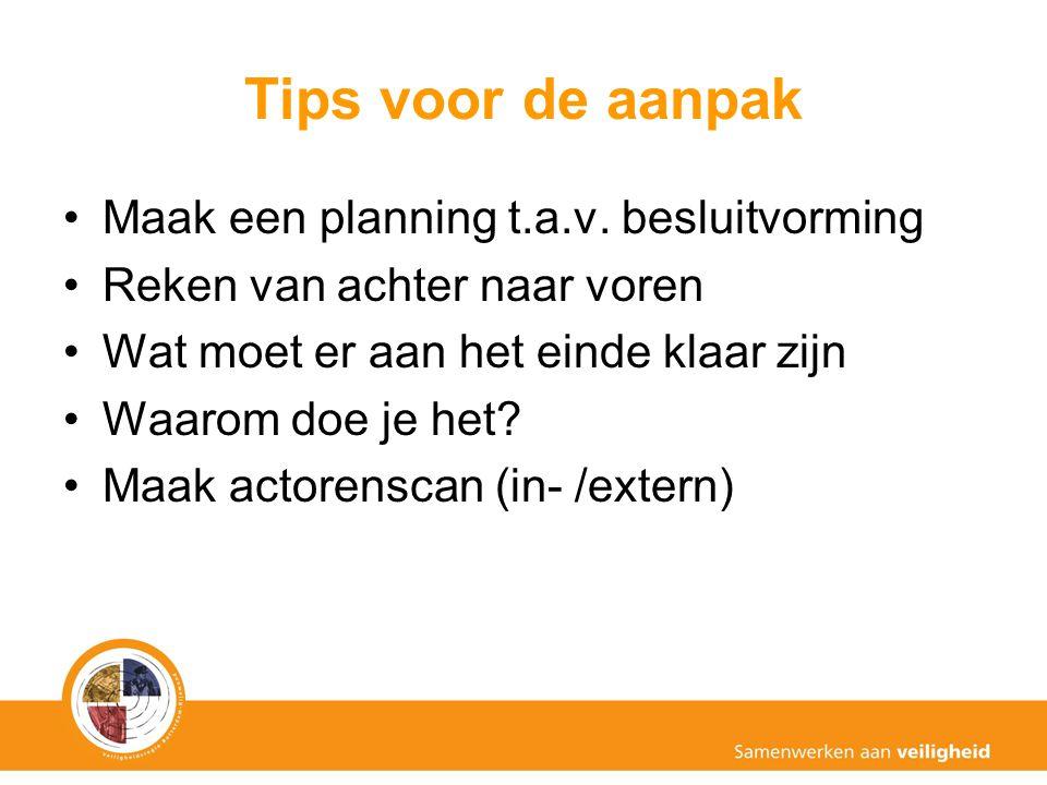 Tips voor de aanpak Maak een planning t.a.v. besluitvorming Reken van achter naar voren Wat moet er aan het einde klaar zijn Waarom doe je het? Maak a