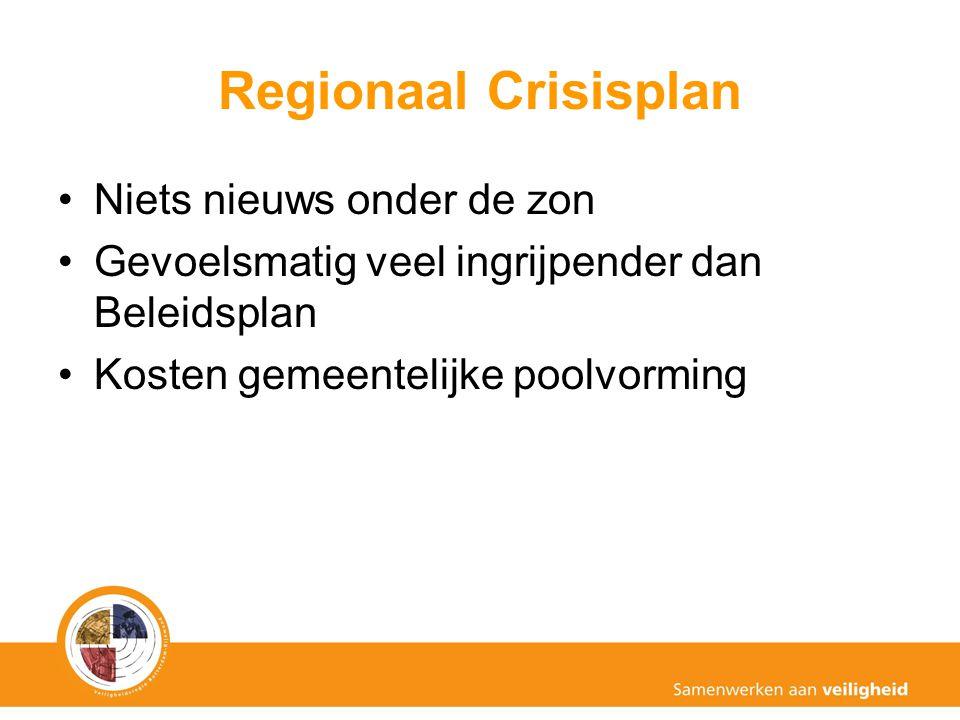 Regionaal Crisisplan Niets nieuws onder de zon Gevoelsmatig veel ingrijpender dan Beleidsplan Kosten gemeentelijke poolvorming