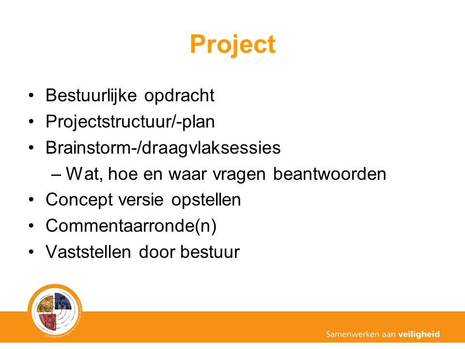 Project Bestuurlijke opdracht Projectstructuur/-plan Brainstorm-/draagvlaksessies –Wat, hoe en waar vragen beantwoorden Concept versie opstellen Commentaarronde(n) Vaststellen door bestuur