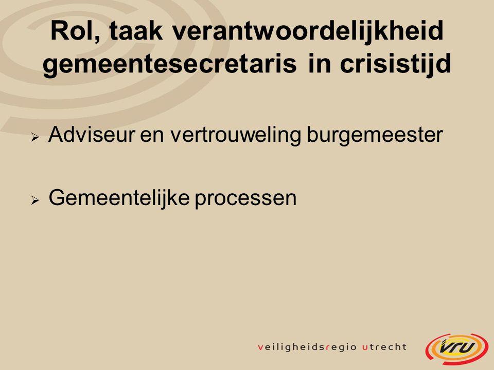 Rol, taak verantwoordelijkheid gemeentesecretaris in crisistijd  Adviseur en vertrouweling burgemeester  Gemeentelijke processen