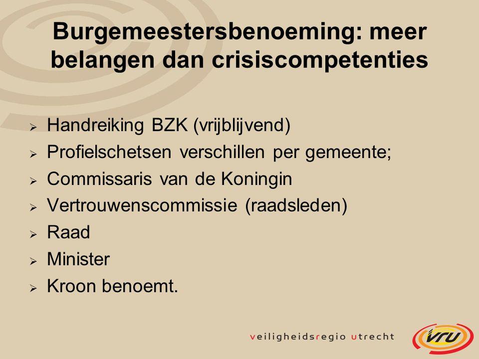 Burgemeestersbenoeming: meer belangen dan crisiscompetenties  Handreiking BZK (vrijblijvend)  Profielschetsen verschillen per gemeente;  Commissari