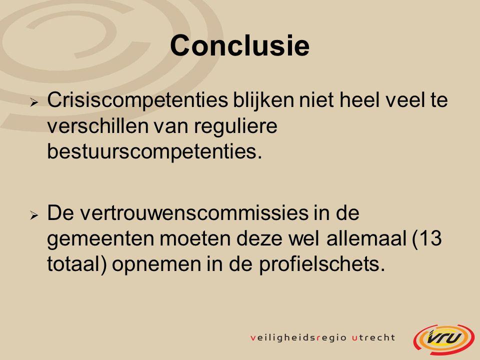 Conclusie  Crisiscompetenties blijken niet heel veel te verschillen van reguliere bestuurscompetenties.  De vertrouwenscommissies in de gemeenten mo