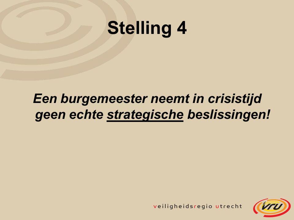 Stelling 4 Een burgemeester neemt in crisistijd geen echte strategische beslissingen!