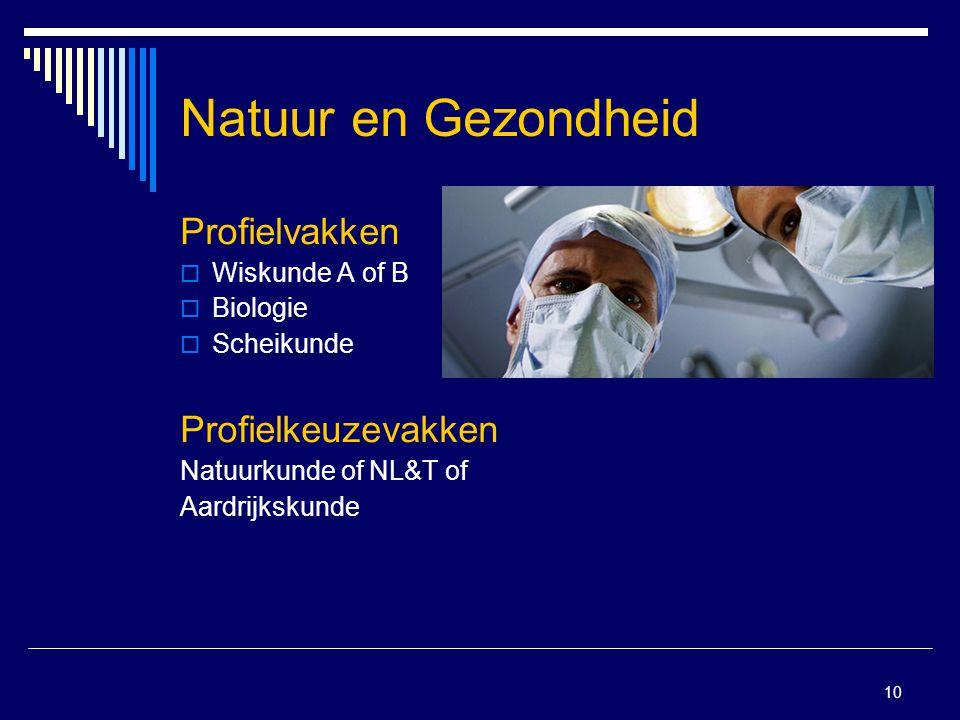 10 Natuur en Gezondheid Profielvakken  Wiskunde A of B  Biologie  Scheikunde Profielkeuzevakken Natuurkunde of NL&T of Aardrijkskunde