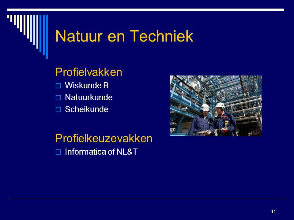 11 Natuur en Techniek Profielvakken  Wiskunde B  Natuurkunde  Scheikunde Profielkeuzevakken  Informatica of NL&T