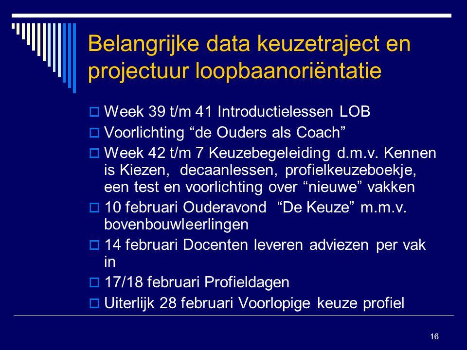 16 Belangrijke data keuzetraject en projectuur loopbaanoriëntatie  Week 39 t/m 41 Introductielessen LOB  Voorlichting de Ouders als Coach  Week 42 t/m 7 Keuzebegeleiding d.m.v.