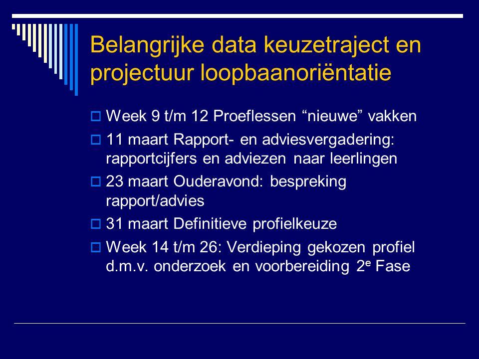 """Belangrijke data keuzetraject en projectuur loopbaanoriëntatie  Week 9 t/m 12 Proeflessen """"nieuwe"""" vakken  11 maart Rapport- en adviesvergadering: r"""