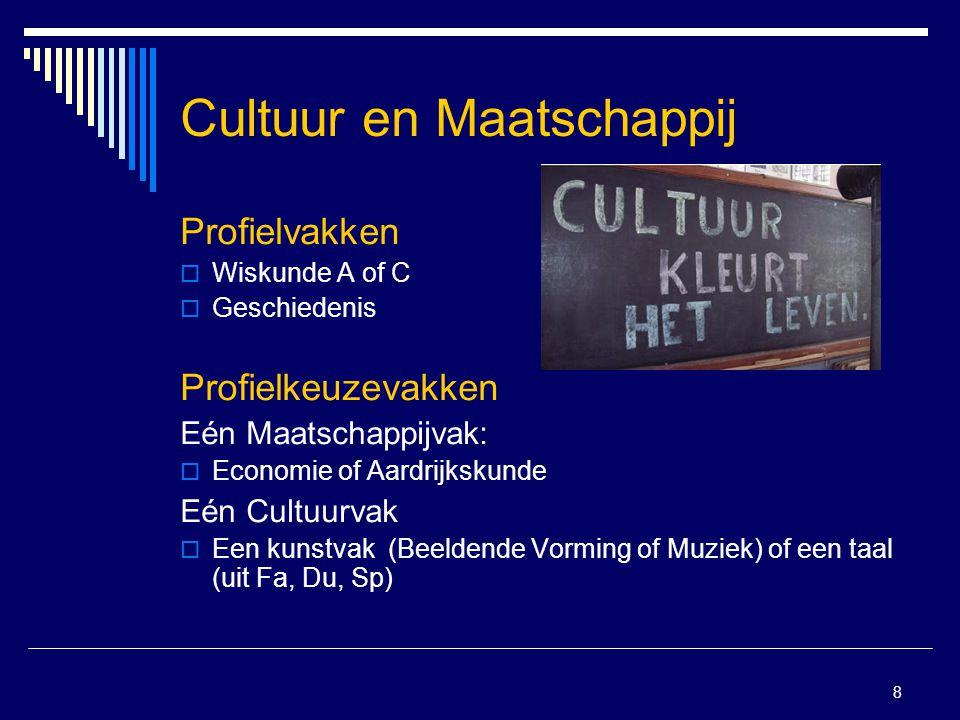 8 Cultuur en Maatschappij Profielvakken  Wiskunde A of C  Geschiedenis Profielkeuzevakken Eén Maatschappijvak:  Economie of Aardrijkskunde Eén Cult