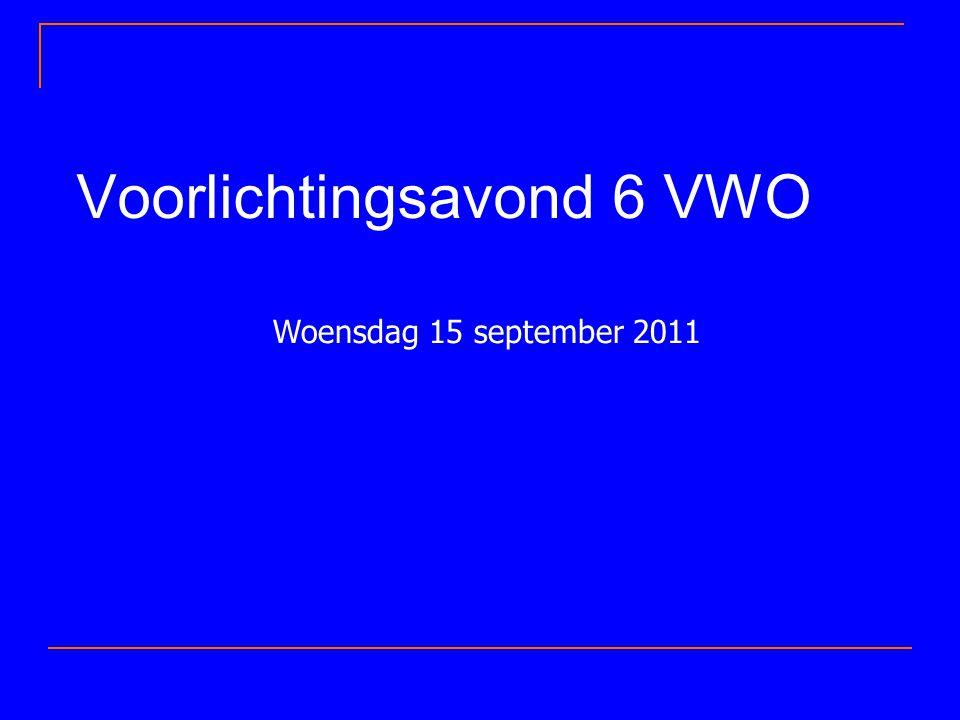 Voorlichtingsavond 6 VWO Woensdag 15 september 2011