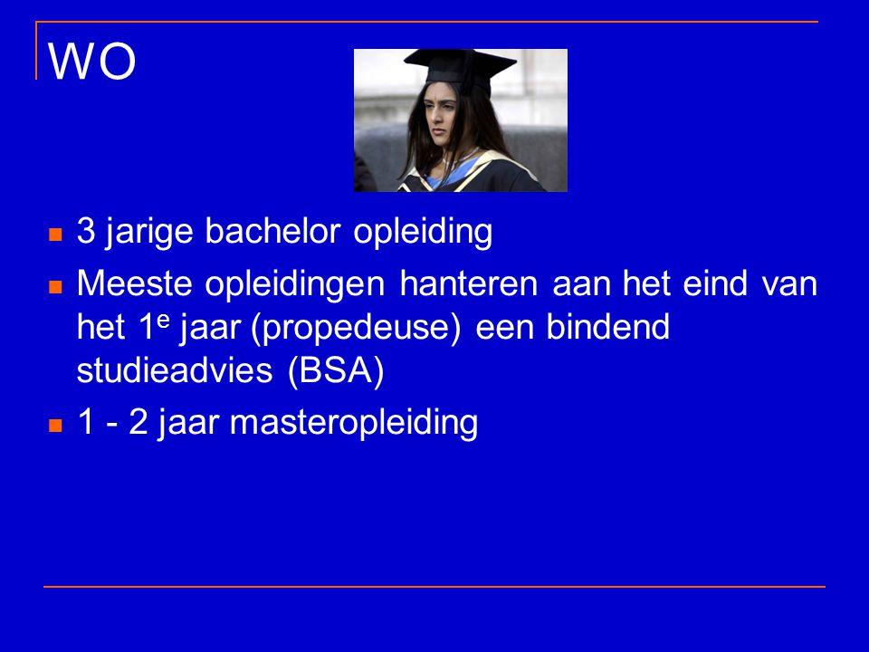 WO 3 jarige bachelor opleiding Meeste opleidingen hanteren aan het eind van het 1 e jaar (propedeuse) een bindend studieadvies (BSA) 1 - 2 jaar master