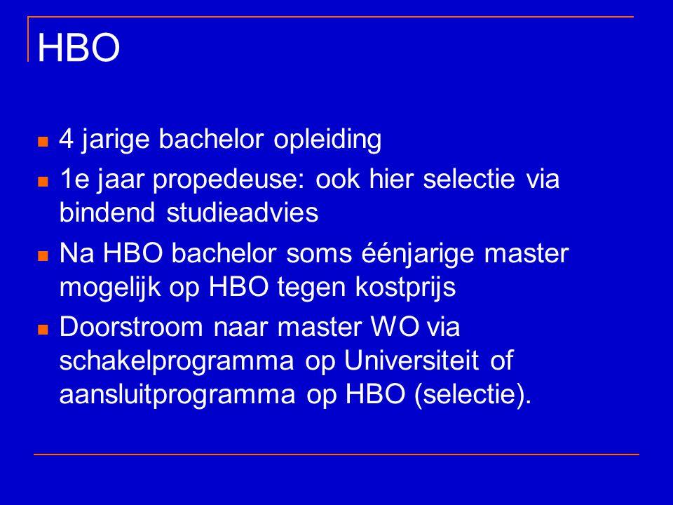 HBO 4 jarige bachelor opleiding 1e jaar propedeuse: ook hier selectie via bindend studieadvies Na HBO bachelor soms éénjarige master mogelijk op HBO t