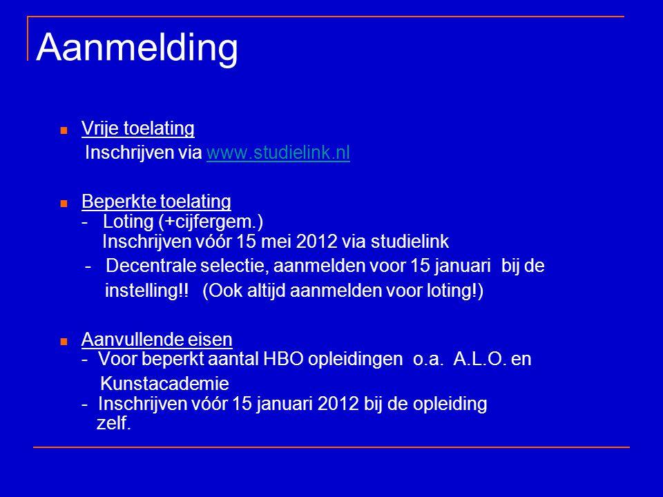 Aanmelding Vrije toelating Inschrijven via www.studielink.nlwww.studielink.nl Beperkte toelating - Loting (+cijfergem.) Inschrijven vóór 15 mei 2012 v