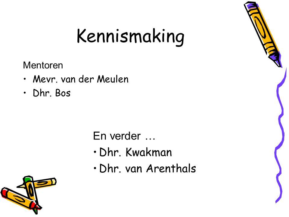 Kennismaking Mentoren Mevr. van der Meulen Dhr. Bos En verder … Dhr. Kwakman Dhr. van Arenthals