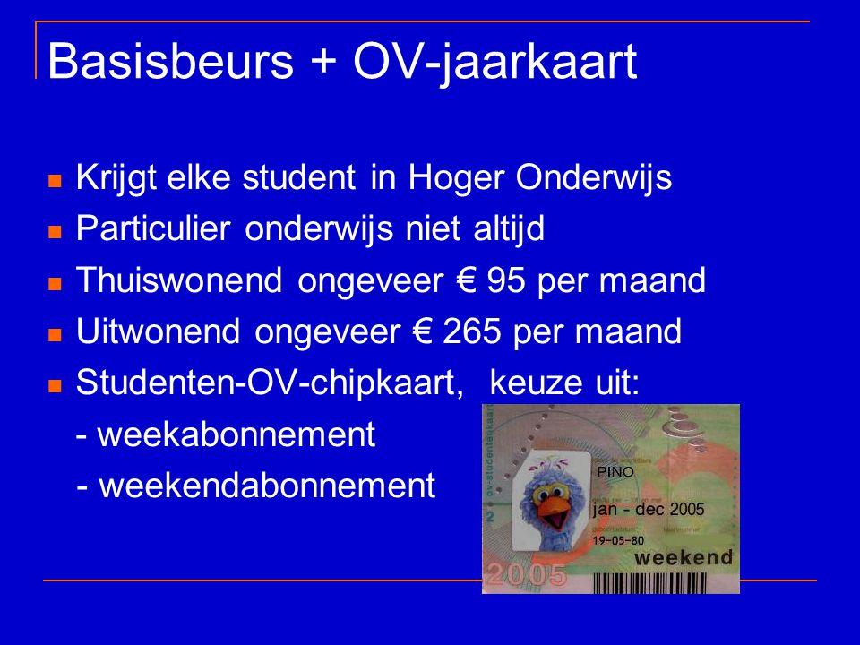 Basisbeurs + OV-jaarkaart Krijgt elke student in Hoger Onderwijs Particulier onderwijs niet altijd Thuiswonend ongeveer € 95 per maand Uitwonend ongev