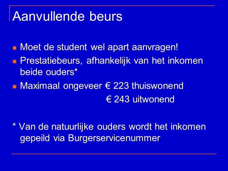 Aanvullende beurs Moet de student wel apart aanvragen! Prestatiebeurs, afhankelijk van het inkomen beide ouders* Maximaal ongeveer € 223 thuiswonend €