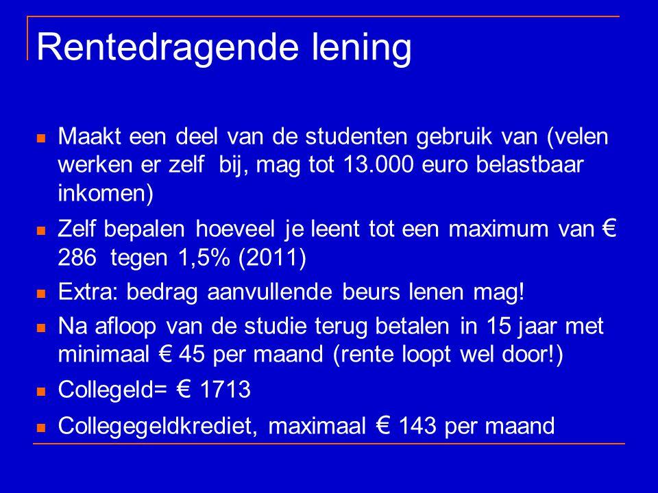 Rentedragende lening Maakt een deel van de studenten gebruik van (velen werken er zelf bij, mag tot 13.000 euro belastbaar inkomen) Zelf bepalen hoeve