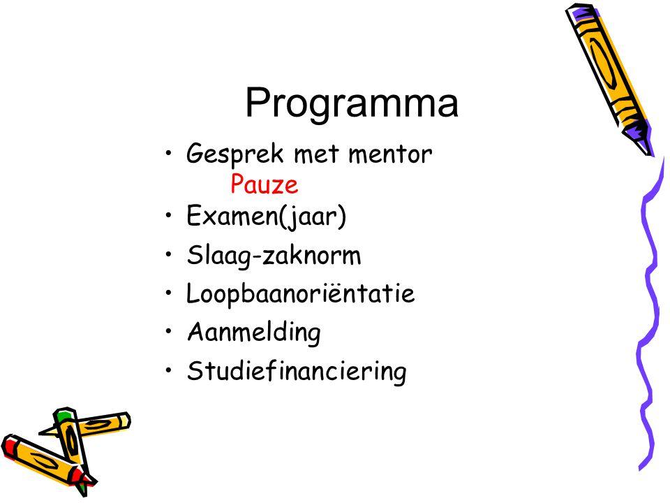 Programma Gesprek met mentor Pauze Examen(jaar) Slaag-zaknorm Loopbaanoriëntatie Aanmelding Studiefinanciering