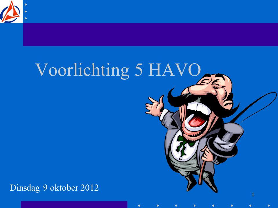 1 Voorlichting 5 HAVO Dinsdag 9 oktober 2012