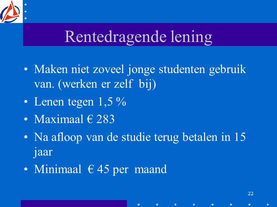 22 Rentedragende lening Maken niet zoveel jonge studenten gebruik van.