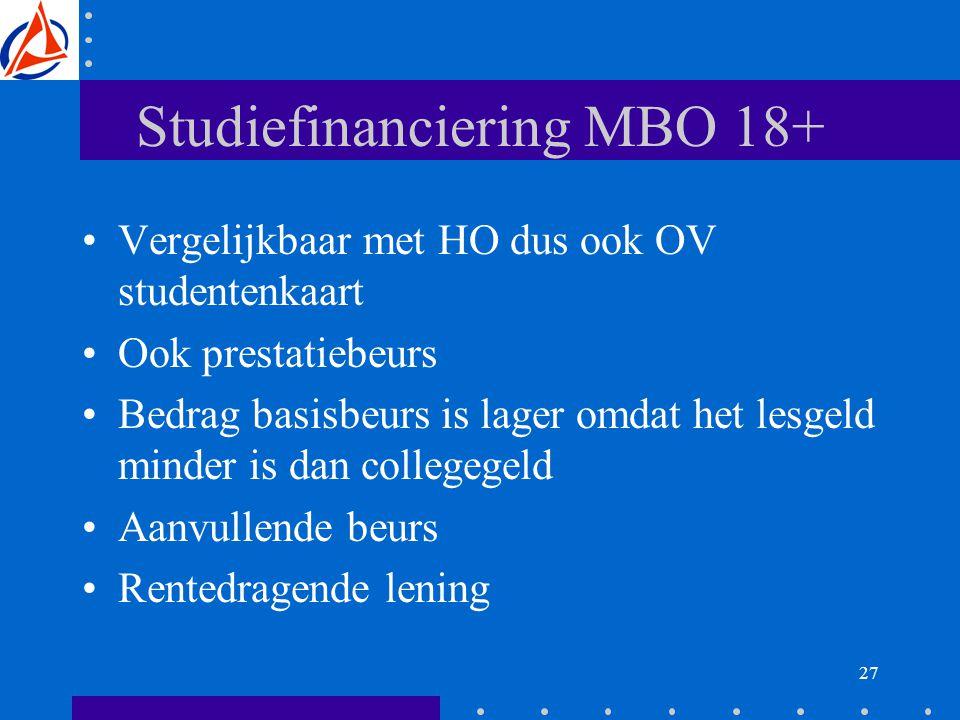 27 Studiefinanciering MBO 18+ Vergelijkbaar met HO dus ook OV studentenkaart Ook prestatiebeurs Bedrag basisbeurs is lager omdat het lesgeld minder is dan collegegeld Aanvullende beurs Rentedragende lening