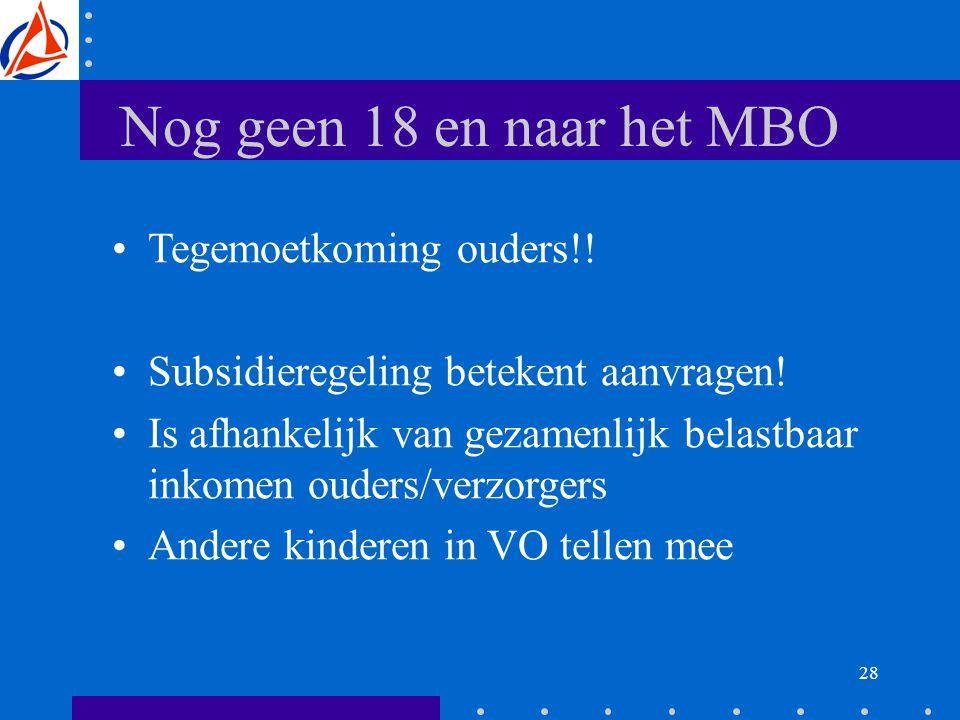 28 Nog geen 18 en naar het MBO Tegemoetkoming ouders!.