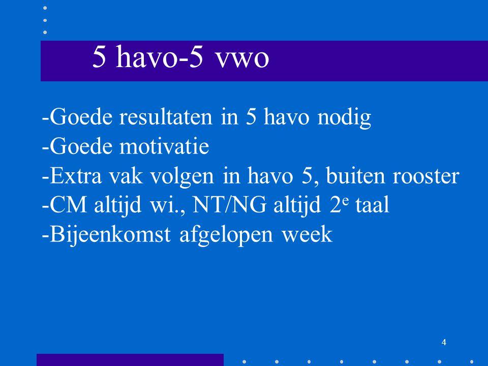 4 5 havo-5 vwo -Goede resultaten in 5 havo nodig -Goede motivatie -Extra vak volgen in havo 5, buiten rooster -CM altijd wi., NT/NG altijd 2 e taal -Bijeenkomst afgelopen week