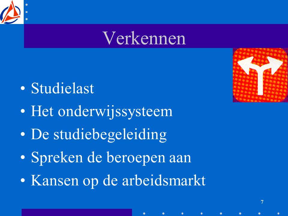 7 Verkennen Studielast Het onderwijssysteem De studiebegeleiding Spreken de beroepen aan Kansen op de arbeidsmarkt