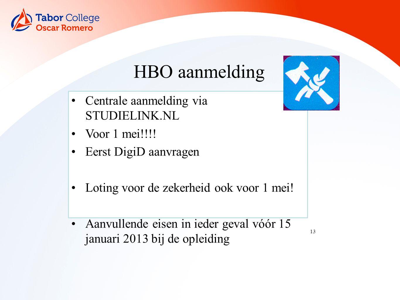 13 HBO aanmelding Centrale aanmelding via STUDIELINK.NL Voor 1 mei!!!.