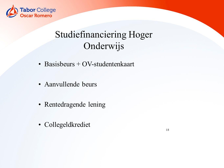 18 Studiefinanciering Hoger Onderwijs Basisbeurs + OV-studentenkaart Aanvullende beurs Rentedragende lening Collegeldkrediet