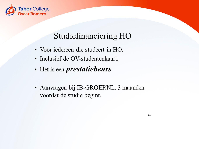 19 Studiefinanciering HO Voor iedereen die studeert in HO.