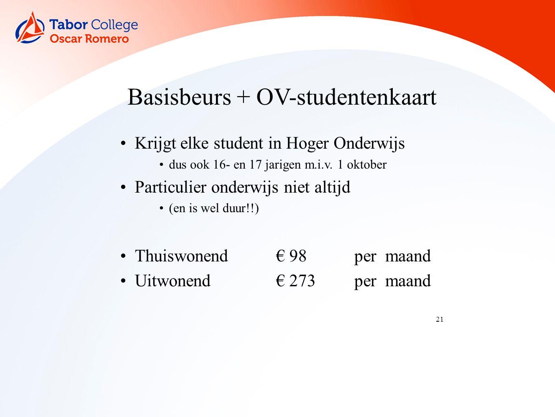 21 Basisbeurs + OV-studentenkaart Krijgt elke student in Hoger Onderwijs dus ook 16- en 17 jarigen m.i.v.