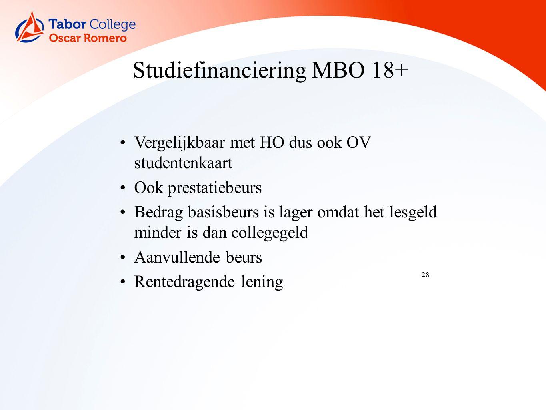 28 Studiefinanciering MBO 18+ Vergelijkbaar met HO dus ook OV studentenkaart Ook prestatiebeurs Bedrag basisbeurs is lager omdat het lesgeld minder is dan collegegeld Aanvullende beurs Rentedragende lening