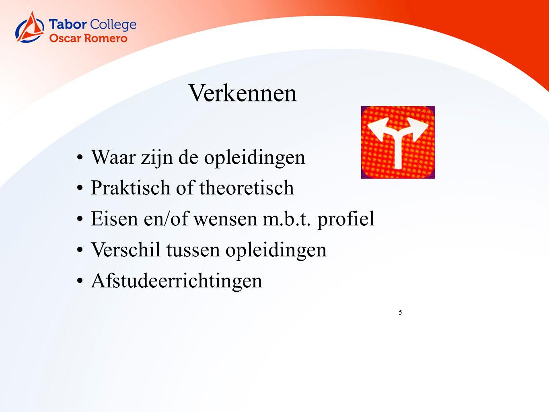 5 Verkennen Waar zijn de opleidingen Praktisch of theoretisch Eisen en/of wensen m.b.t.