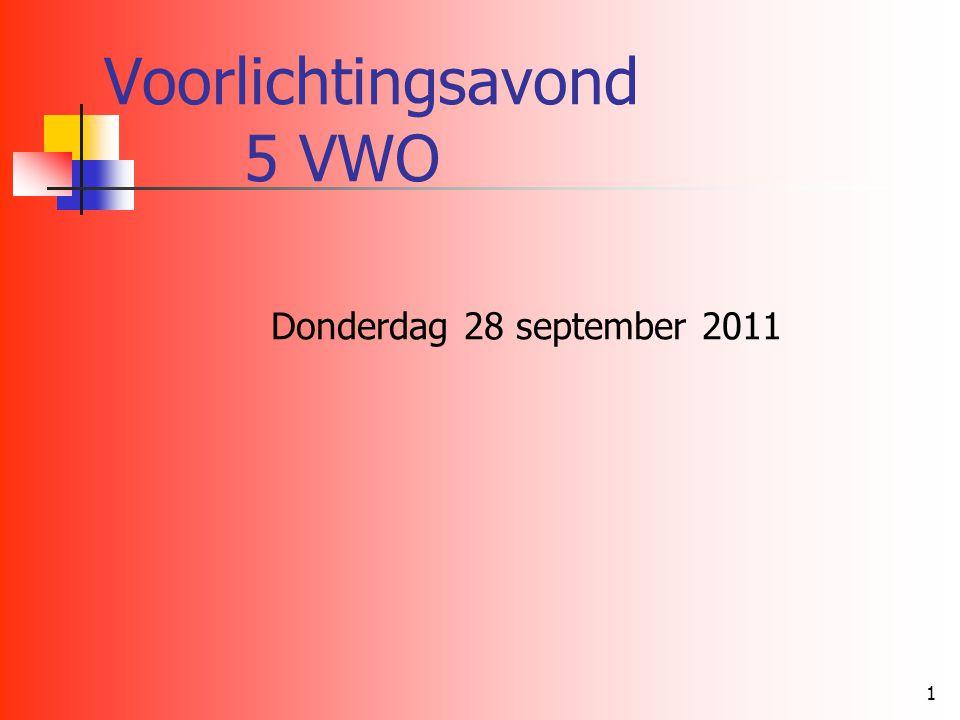 1 Voorlichtingsavond 5 VWO Donderdag 28 september 2011
