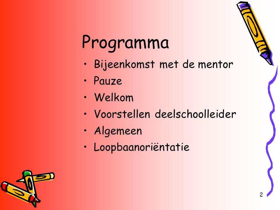2 Programma Bijeenkomst met de mentor Pauze Welkom Voorstellen deelschoolleider Algemeen Loopbaanoriëntatie