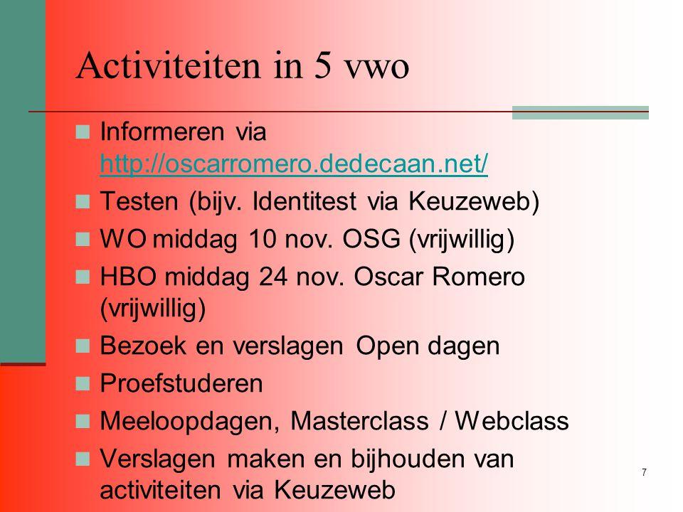 7 Activiteiten in 5 vwo Informeren via http://oscarromero.dedecaan.net/ http://oscarromero.dedecaan.net/ Testen (bijv.