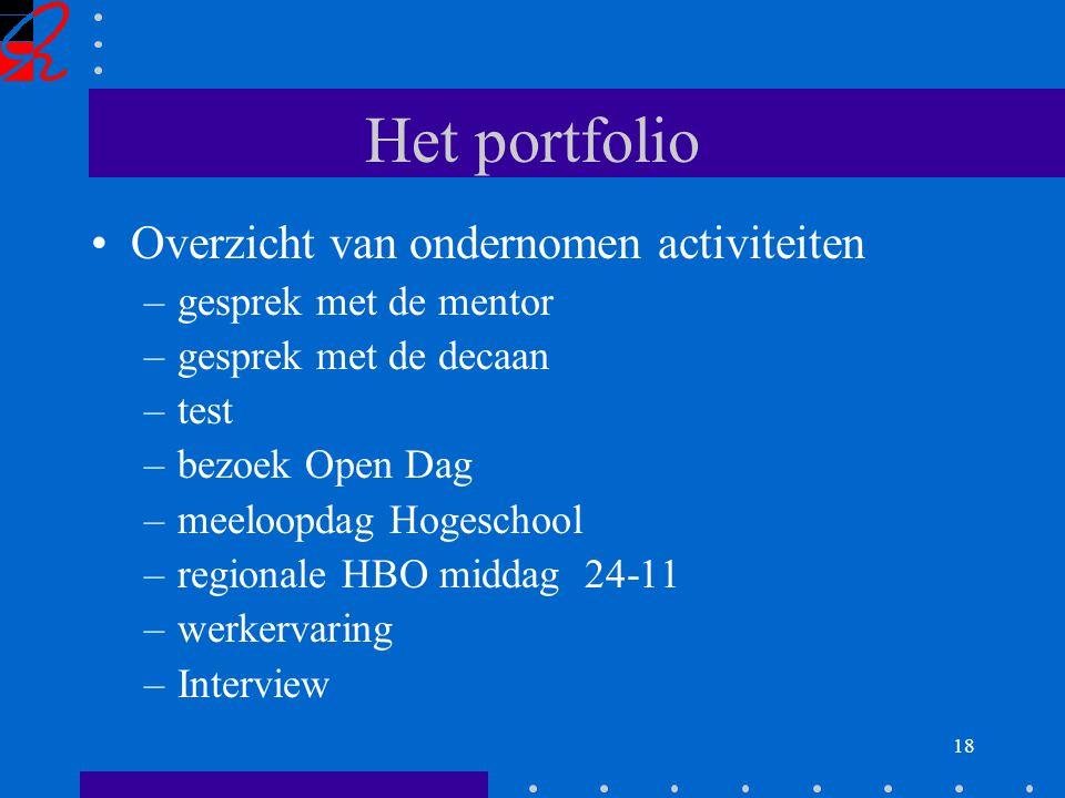 18 Het portfolio Overzicht van ondernomen activiteiten –gesprek met de mentor –gesprek met de decaan –test –bezoek Open Dag –meeloopdag Hogeschool –regionale HBO middag 24-11 –werkervaring –Interview