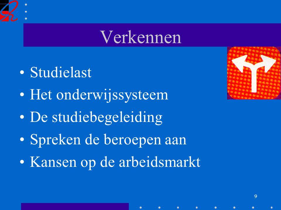 9 Verkennen Studielast Het onderwijssysteem De studiebegeleiding Spreken de beroepen aan Kansen op de arbeidsmarkt