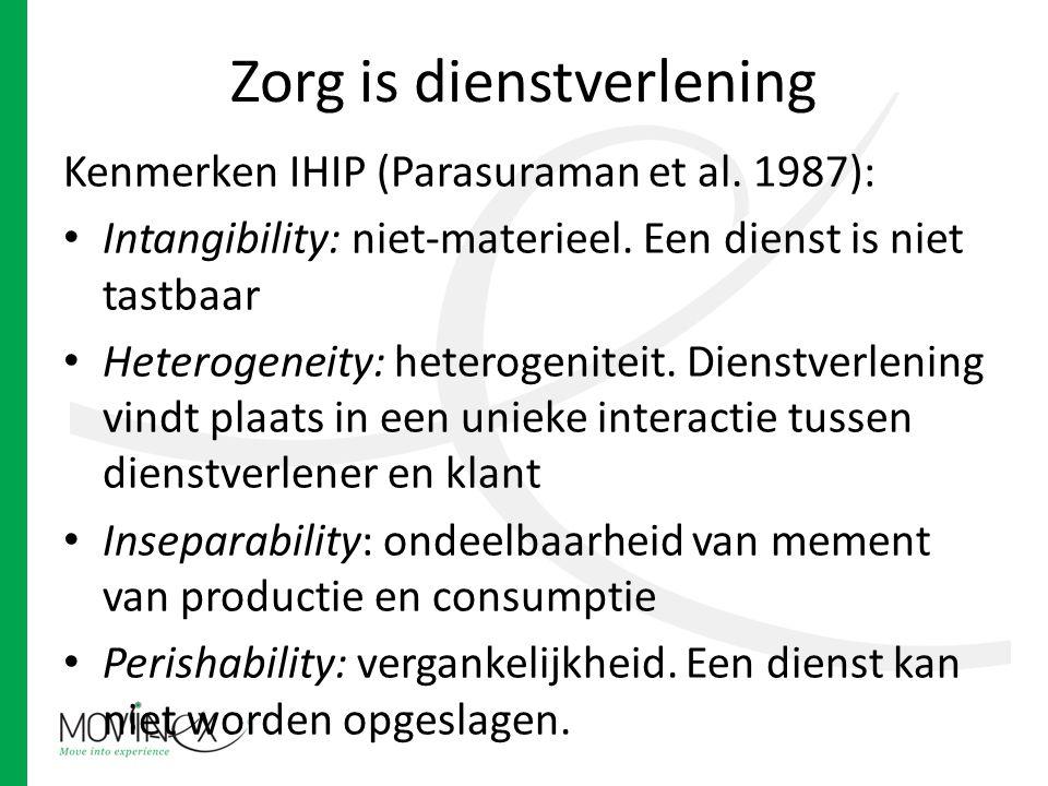 Zorg is dienstverlening Kenmerken IHIP (Parasuraman et al. 1987): Intangibility: niet-materieel. Een dienst is niet tastbaar Heterogeneity: heterogeni