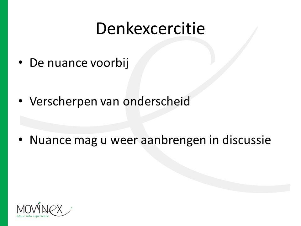 Denkexcercitie De nuance voorbij Verscherpen van onderscheid Nuance mag u weer aanbrengen in discussie