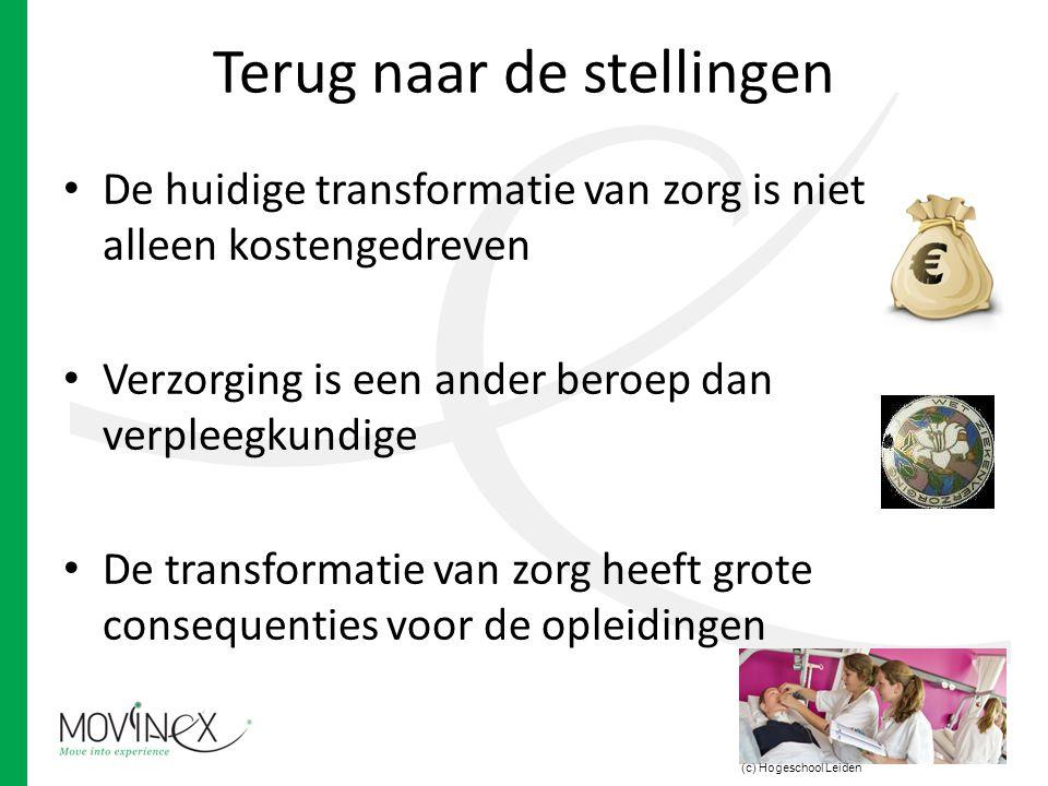 Terug naar de stellingen De huidige transformatie van zorg is niet alleen kostengedreven Verzorging is een ander beroep dan verpleegkundige De transfo