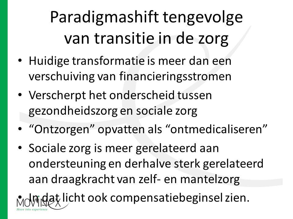 Paradigmashift tengevolge van transitie in de zorg Huidige transformatie is meer dan een verschuiving van financieringsstromen Verscherpt het onderscheid tussen gezondheidszorg en sociale zorg Ontzorgen opvatten als ontmedicaliseren Sociale zorg is meer gerelateerd aan ondersteuning en derhalve sterk gerelateerd aan draagkracht van zelf- en mantelzorg In dat licht ook compensatiebeginsel zien.