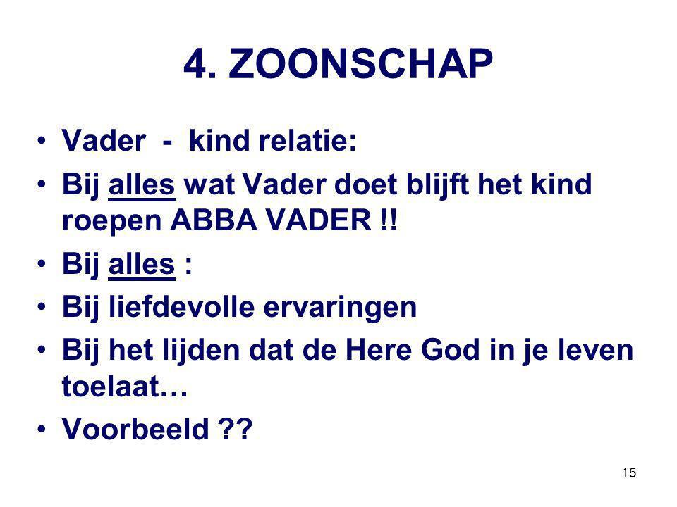 15 4.ZOONSCHAP Vader - kind relatie: Bij alles wat Vader doet blijft het kind roepen ABBA VADER !.