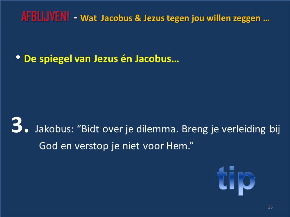 """25 2. Jezus: """"Toen ik verleid werd probeerde ik aan God te denken."""" De spiegel van Jezus én Jacobus…"""