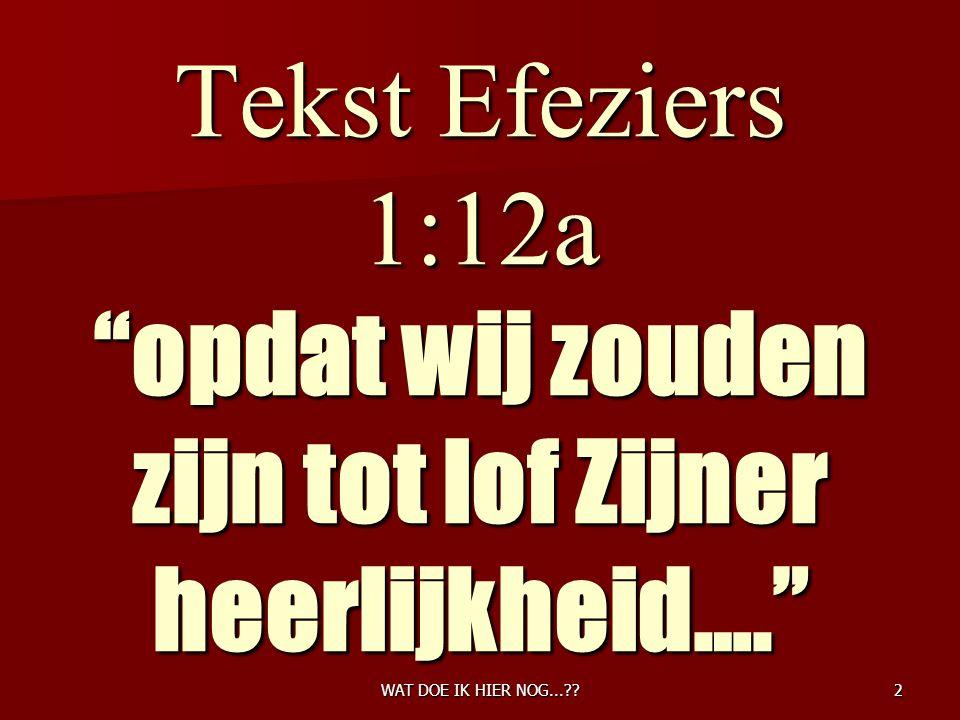 2 Tekst Efeziers 1:12a opdat wij zouden zijn tot lof Zijner heerlijkheid….