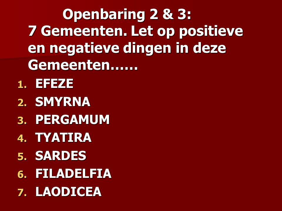 Openbaring 2 & 3: 7 Gemeenten.