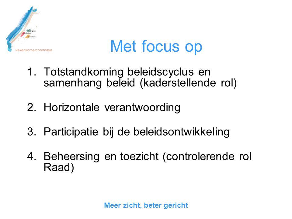 Met focus op 1.Totstandkoming beleidscyclus en samenhang beleid (kaderstellende rol) 2.Horizontale verantwoording 3.Participatie bij de beleidsontwikk
